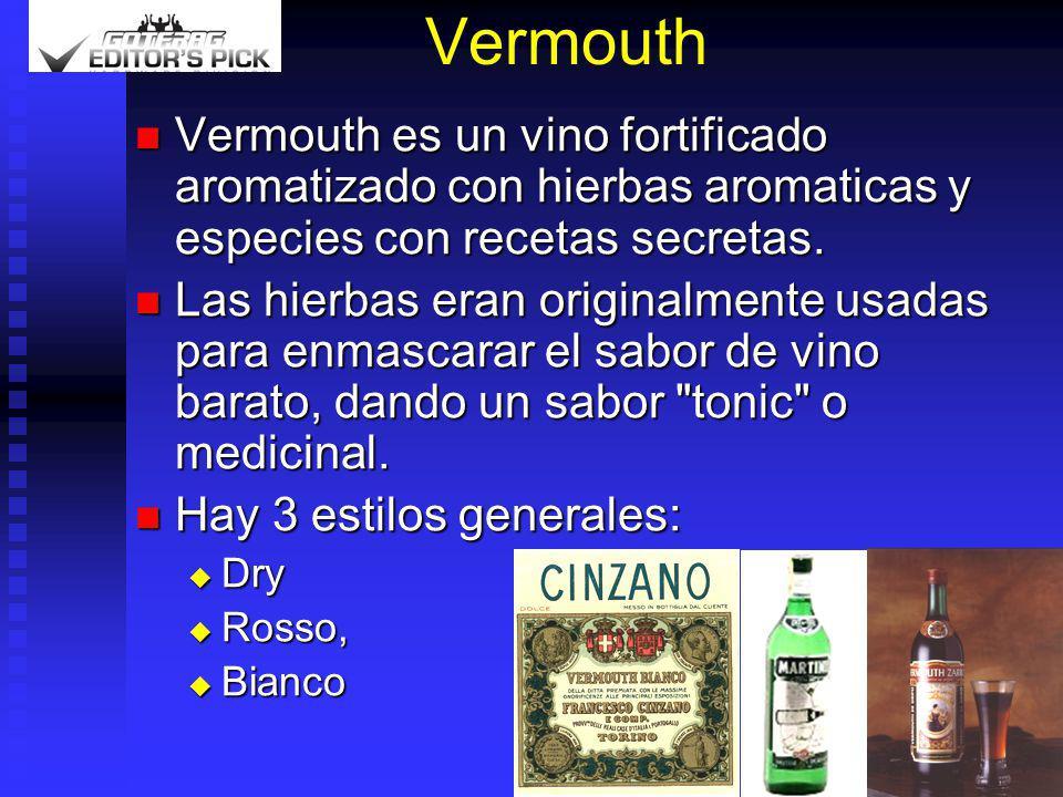 Vermouth Vermouth es un vino fortificado aromatizado con hierbas aromaticas y especies con recetas secretas.