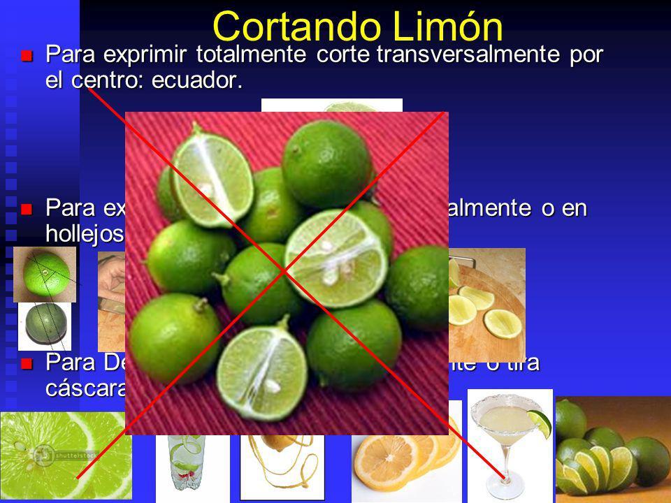 Cortando Limón Para exprimir totalmente corte transversalmente por el centro: ecuador.