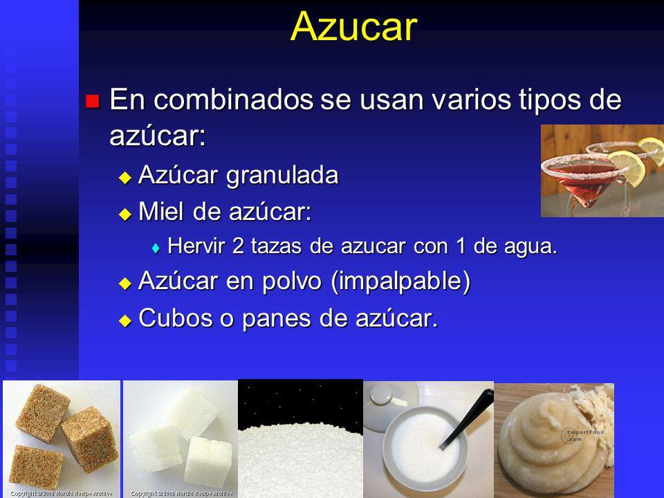 Azucar En combinados se usan varios tipos de azúcar: Azúcar granulada