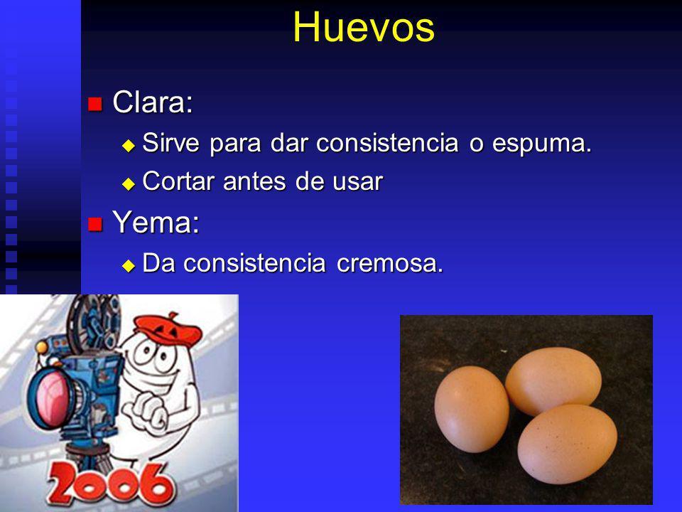 Huevos Clara: Yema: Sirve para dar consistencia o espuma.