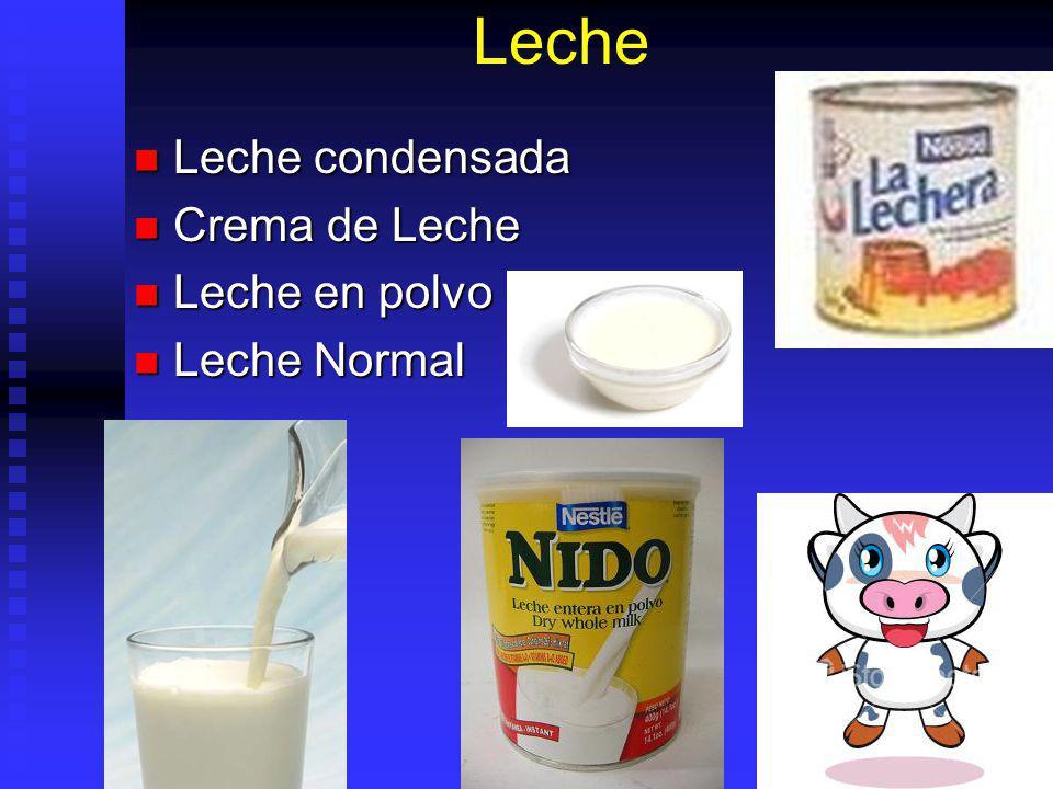 Leche Leche condensada Crema de Leche Leche en polvo Leche Normal