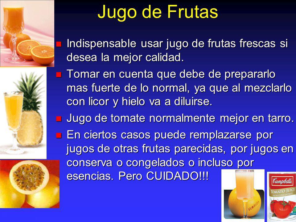 Jugo de Frutas Indispensable usar jugo de frutas frescas si desea la mejor calidad.