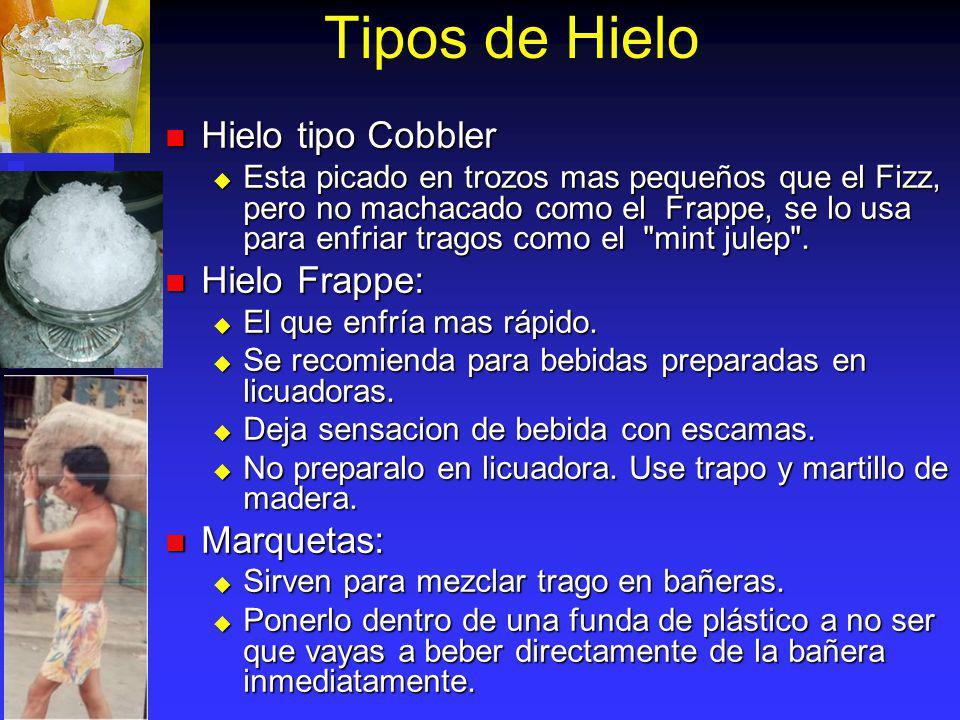 Tipos de Hielo Hielo tipo Cobbler Hielo Frappe: Marquetas:
