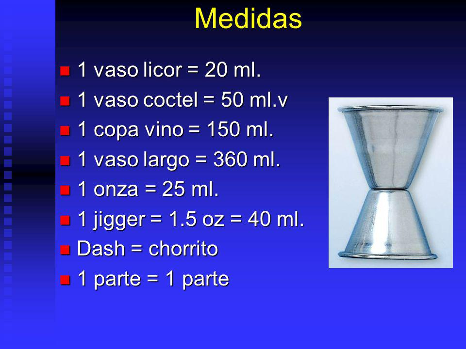 Medidas 1 vaso licor = 20 ml. 1 vaso coctel = 50 ml.v