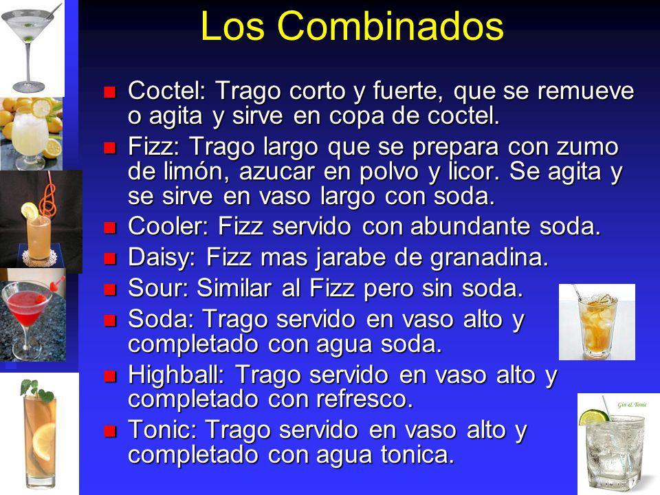 Los Combinados Coctel: Trago corto y fuerte, que se remueve o agita y sirve en copa de coctel.