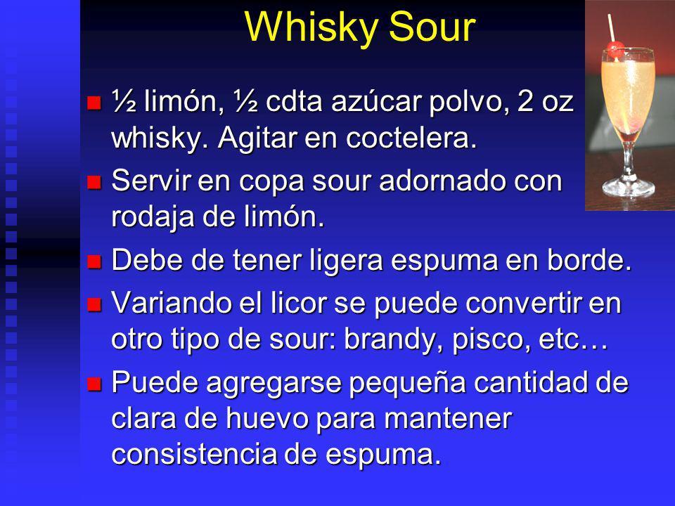 Whisky Sour ½ limón, ½ cdta azúcar polvo, 2 oz whisky. Agitar en coctelera. Servir en copa sour adornado con rodaja de limón.