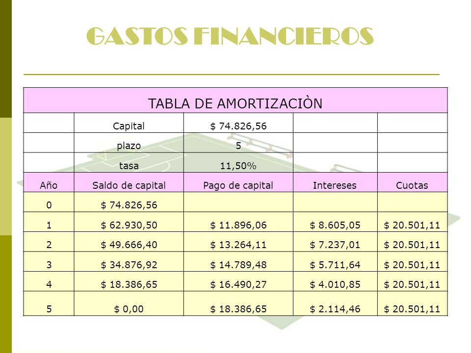 GASTOS FINANCIEROS TABLA DE AMORTIZACIÒN Capital $ 74.826,56 plazo 5