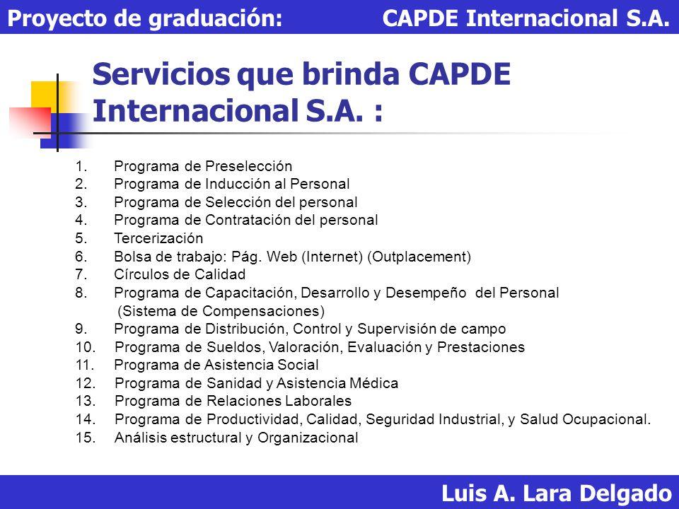 Servicios que brinda CAPDE Internacional S.A. :