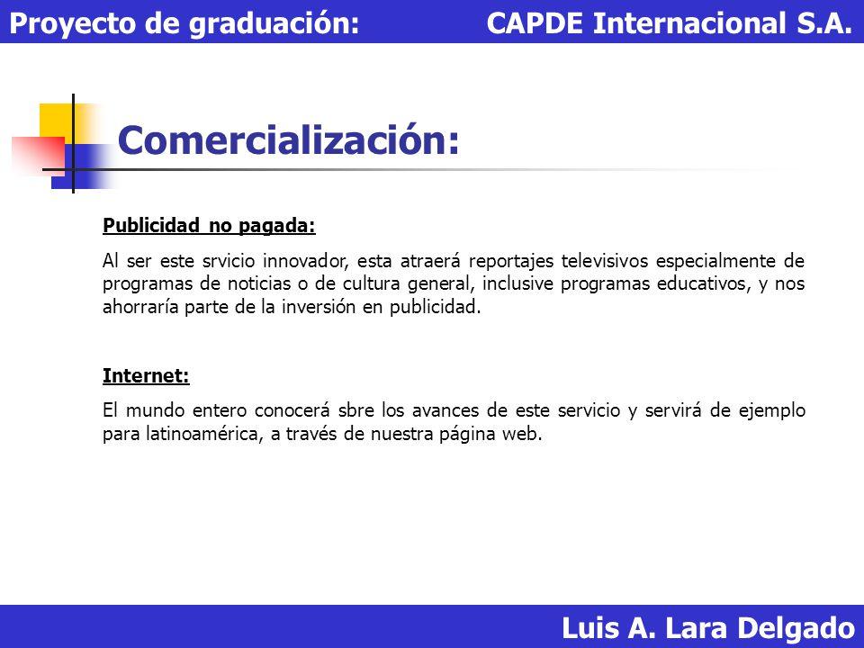 Comercialización: Proyecto de graduación: CAPDE Internacional S.A.