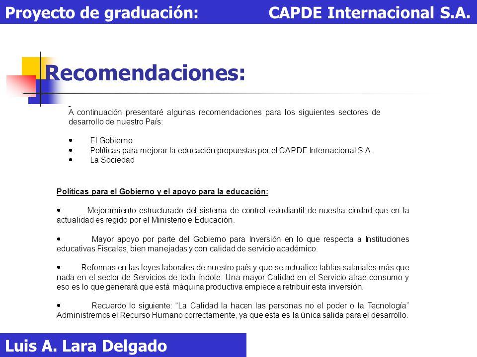 Recomendaciones: Proyecto de graduación: CAPDE Internacional S.A.