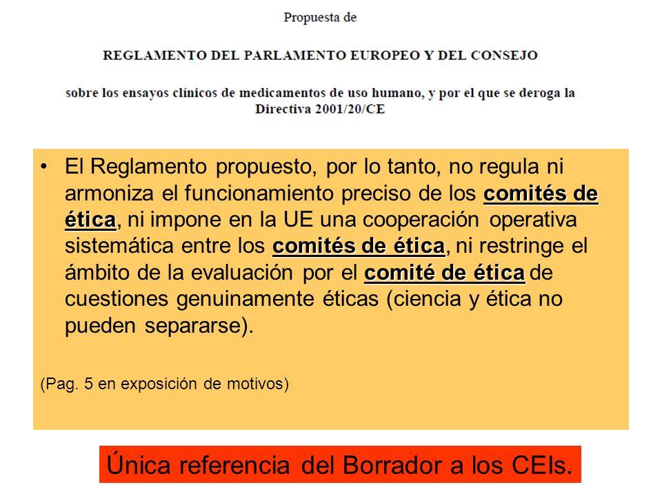Única referencia del Borrador a los CEIs.