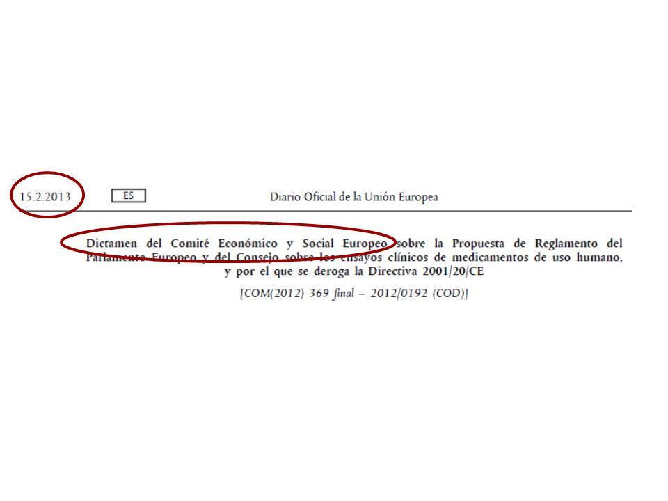 Pero en febrero de 2013 aparece este informe del Comité Económico y Social Europeo