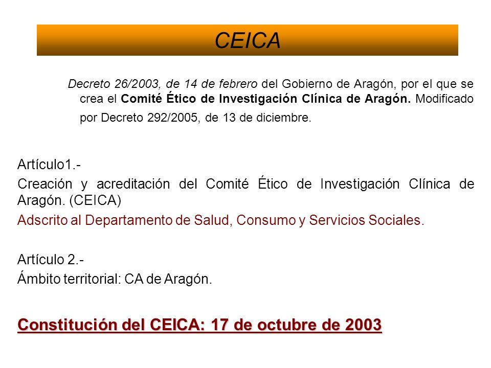 CEICA Constitución del CEICA: 17 de octubre de 2003 Artículo1.-