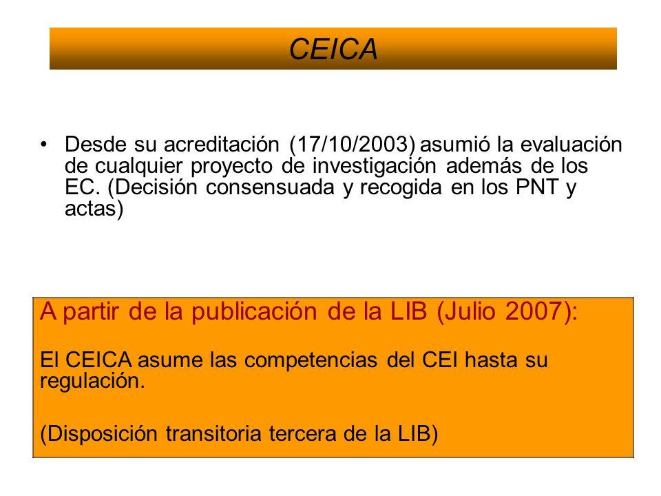 CEICA A partir de la publicación de la LIB (Julio 2007):