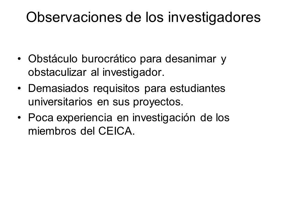 Observaciones de los investigadores