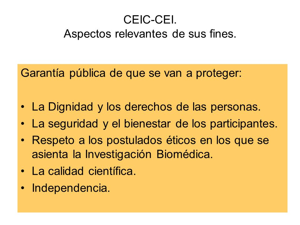 CEIC-CEI. Aspectos relevantes de sus fines.