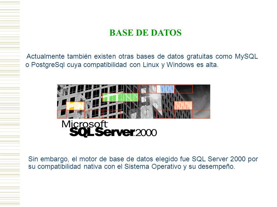 BASE DE DATOS Actualmente también existen otras bases de datos gratuitas como MySQL o PostgreSql cuya compatibilidad con Linux y Windows es alta.