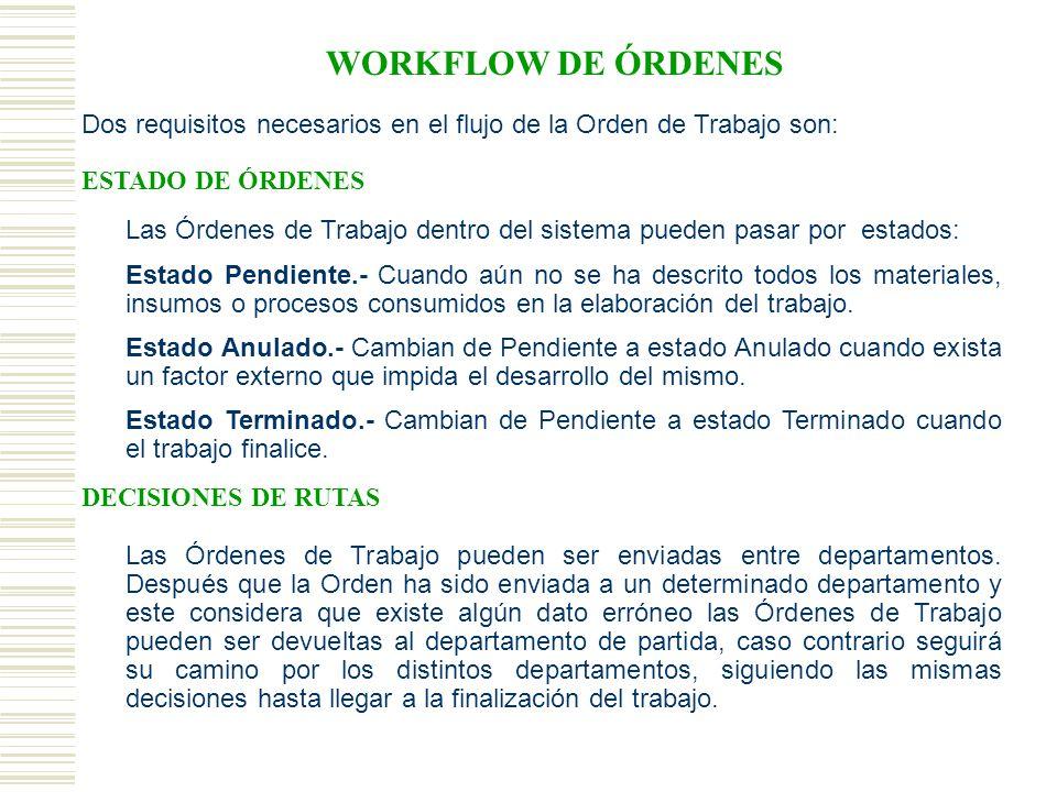 WORKFLOW DE ÓRDENES Dos requisitos necesarios en el flujo de la Orden de Trabajo son: ESTADO DE ÓRDENES.