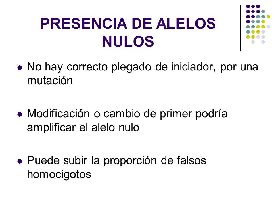 PRESENCIA DE ALELOS NULOS
