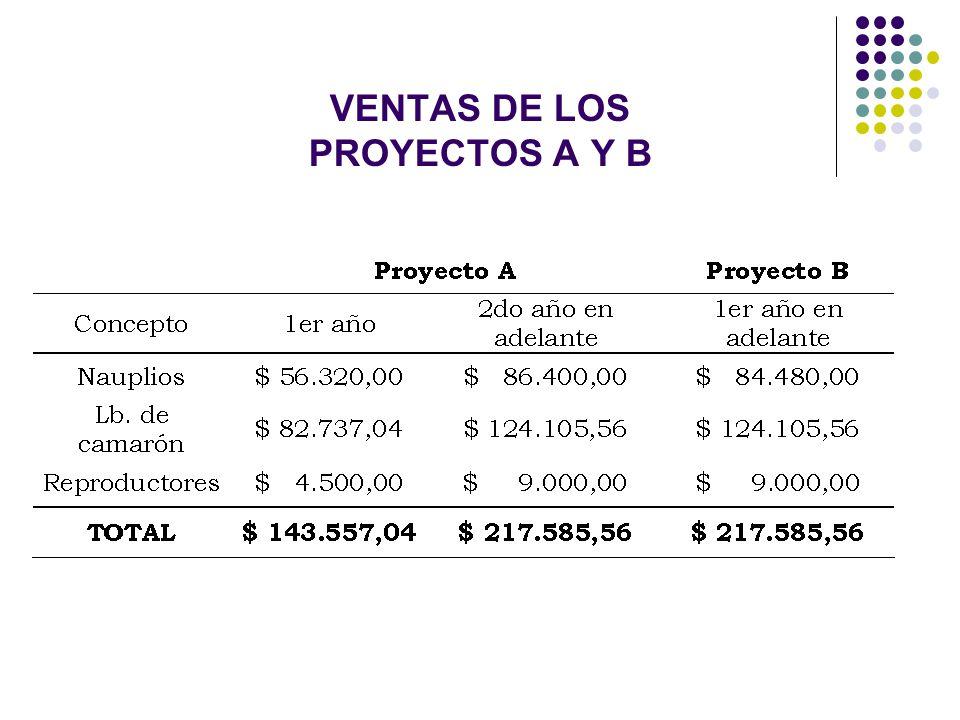 VENTAS DE LOS PROYECTOS A Y B