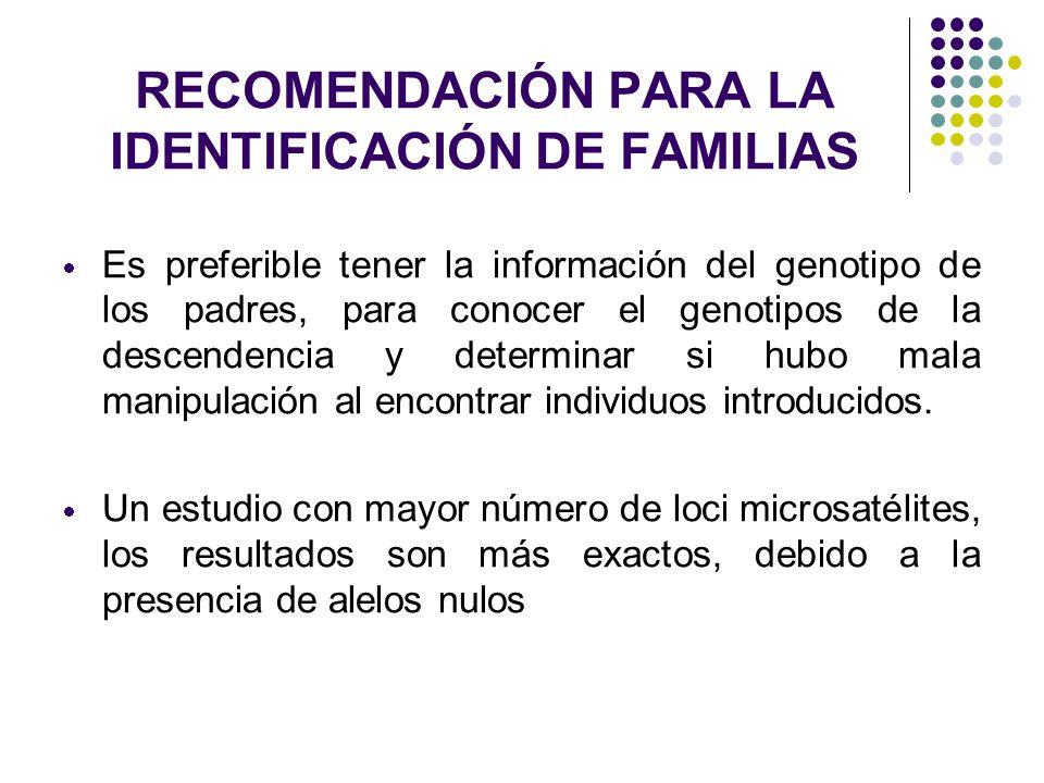 RECOMENDACIÓN PARA LA IDENTIFICACIÓN DE FAMILIAS