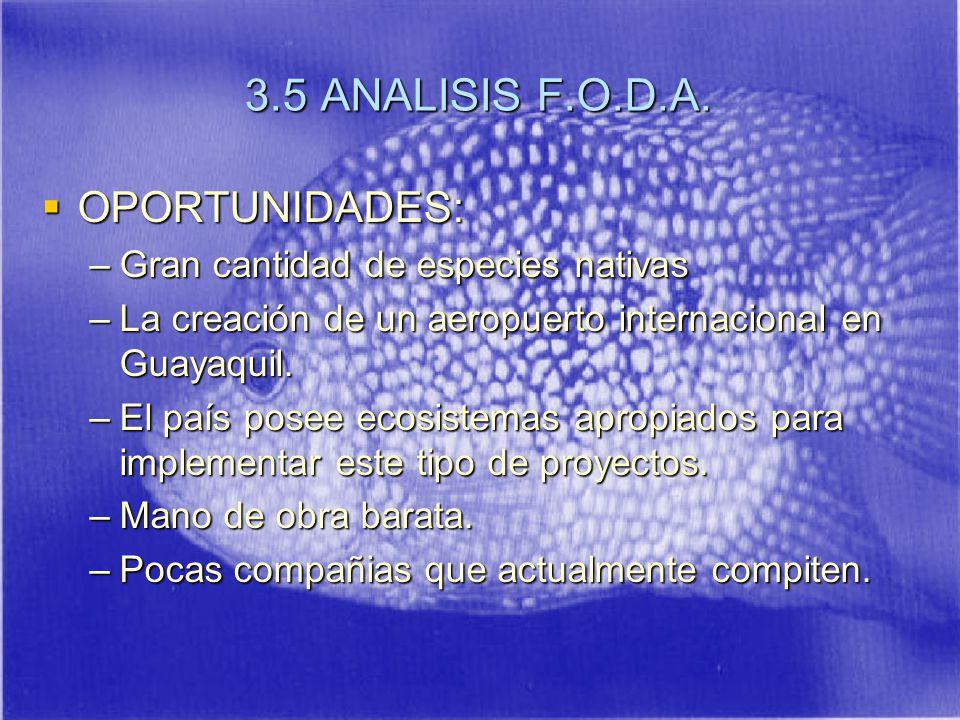 3.5 ANALISIS F.O.D.A. OPORTUNIDADES: Gran cantidad de especies nativas