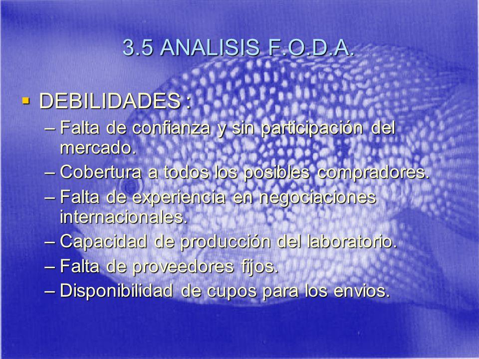3.5 ANALISIS F.O.D.A. DEBILIDADES :
