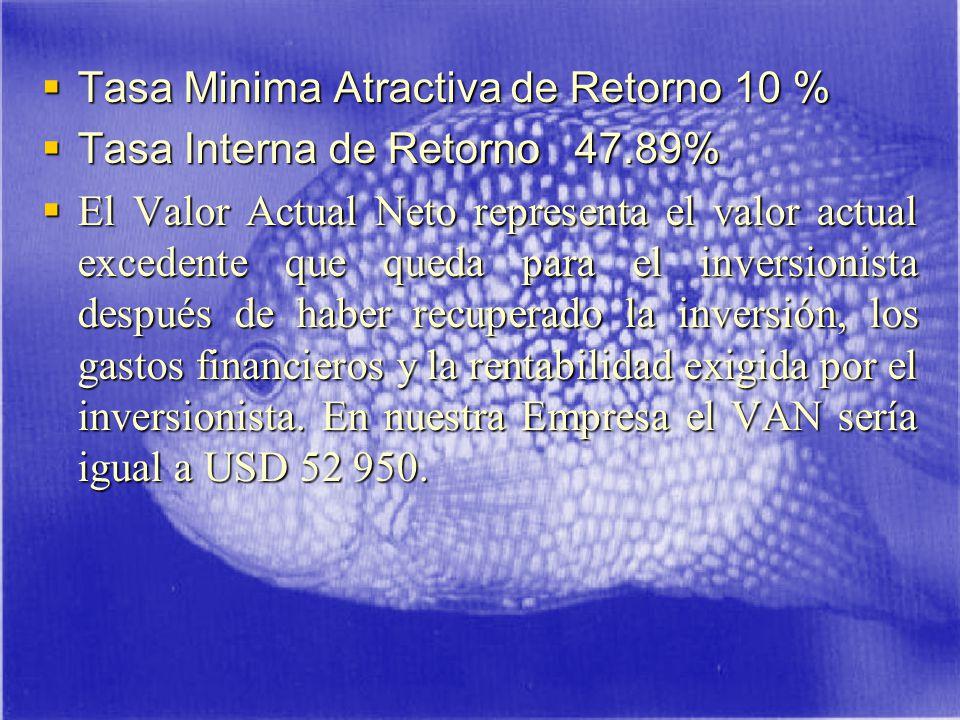 Tasa Minima Atractiva de Retorno 10 %