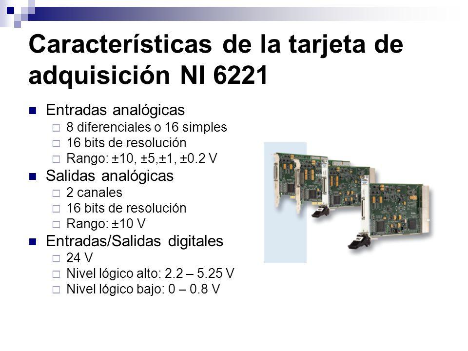 Características de la tarjeta de adquisición NI 6221