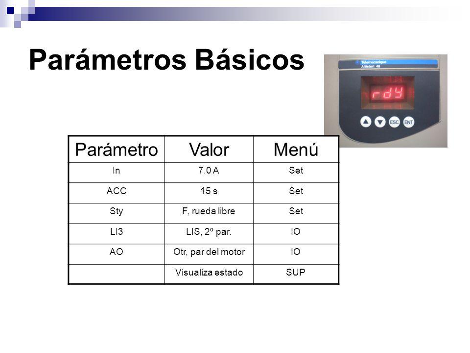 Parámetros Básicos Parámetro Valor Menú In 7.0 A Set ACC 15 s Sty