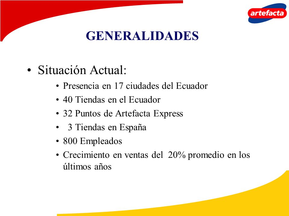 GENERALIDADES Situación Actual: Presencia en 17 ciudades del Ecuador