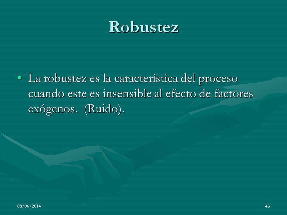 Robustez La robustez es la característica del proceso cuando este es insensible al efecto de factores exógenos. (Ruido).