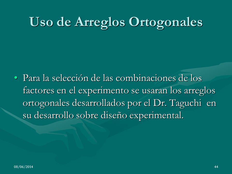 Uso de Arreglos Ortogonales