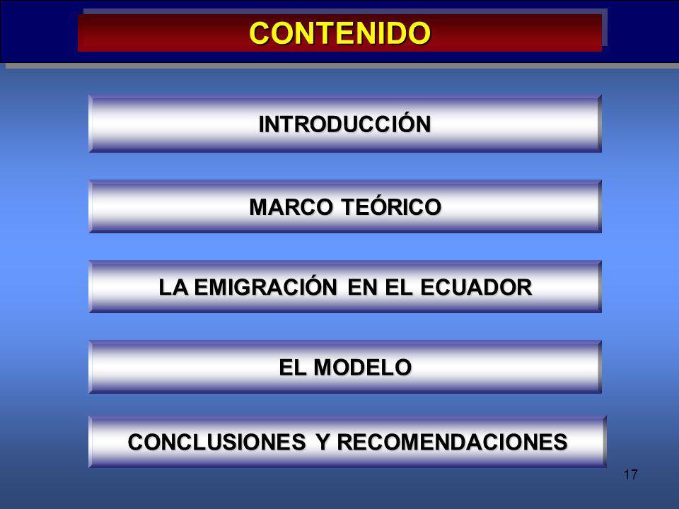 LA EMIGRACIÓN EN EL ECUADOR CONCLUSIONES Y RECOMENDACIONES