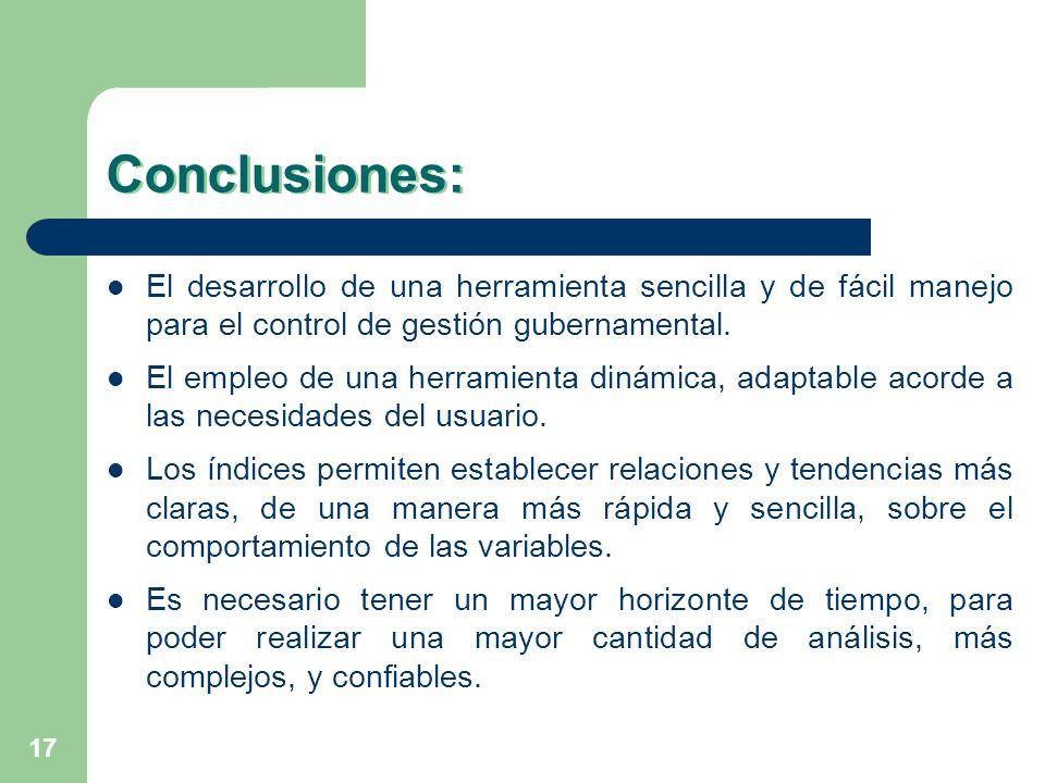 Conclusiones: El desarrollo de una herramienta sencilla y de fácil manejo para el control de gestión gubernamental.
