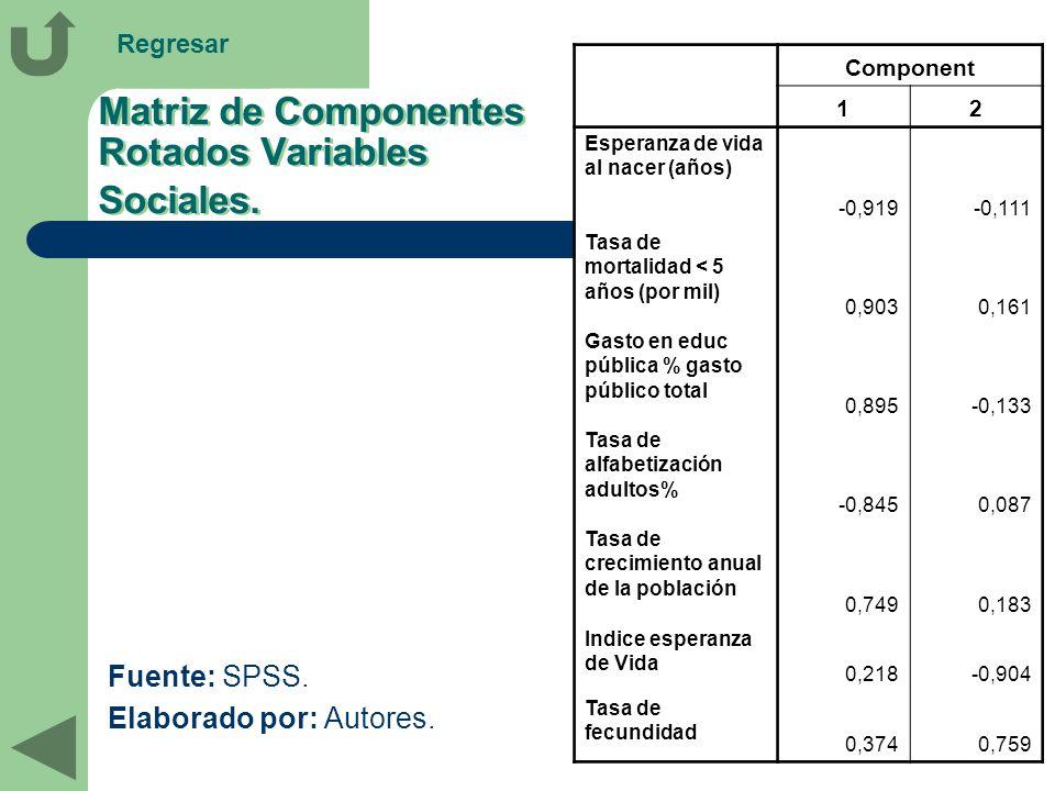 Matriz de Componentes Rotados Variables Sociales.