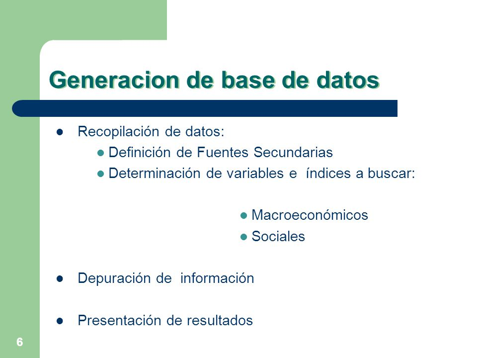 Generacion de base de datos