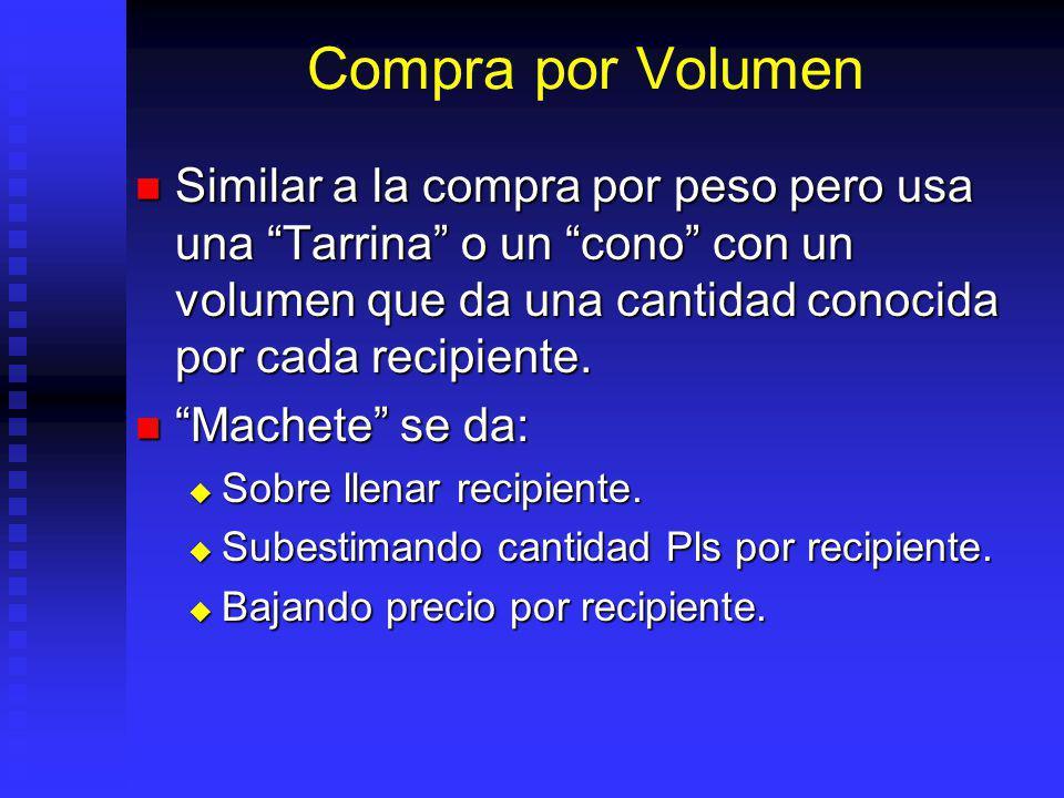 Compra por Volumen Similar a la compra por peso pero usa una Tarrina o un cono con un volumen que da una cantidad conocida por cada recipiente.