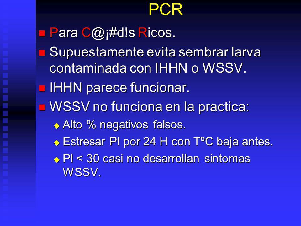 PCR Para C@¡#d!s Ricos. Supuestamente evita sembrar larva contaminada con IHHN o WSSV. IHHN parece funcionar.