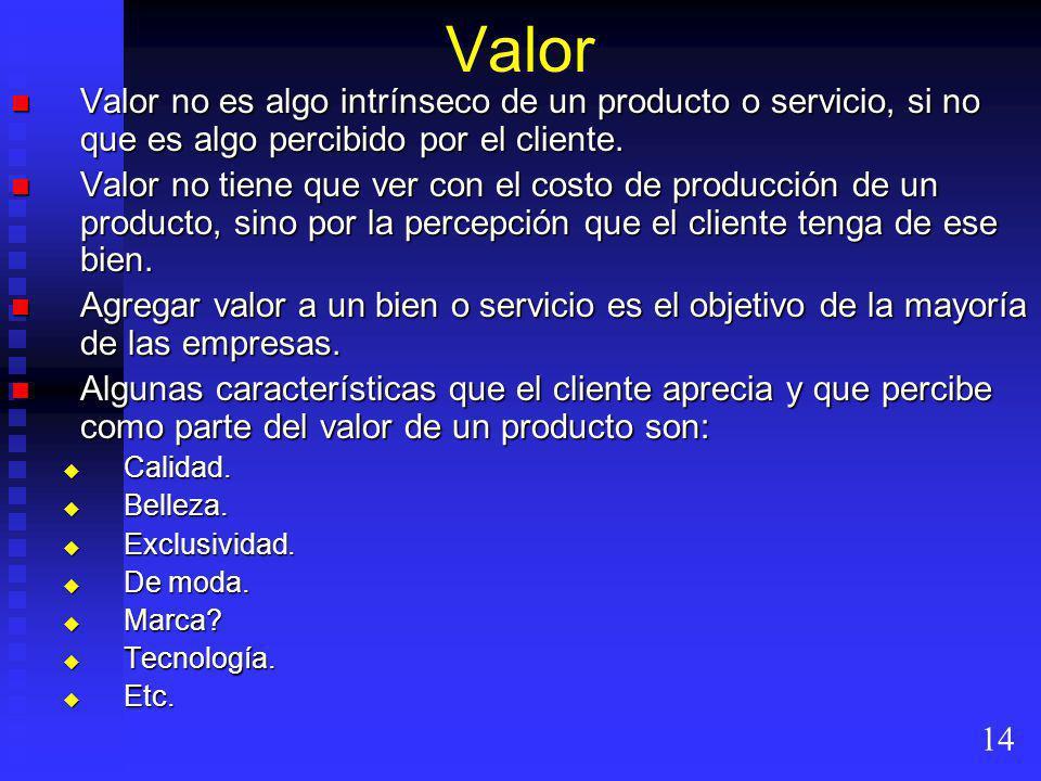 Valor Valor no es algo intrínseco de un producto o servicio, si no que es algo percibido por el cliente.
