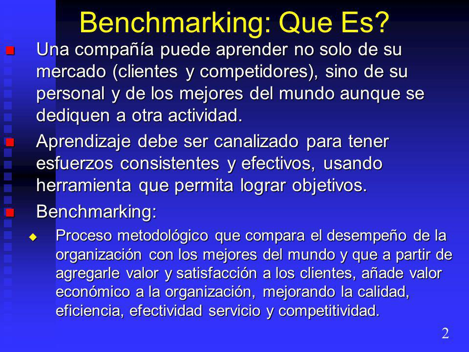 Benchmarking: Que Es
