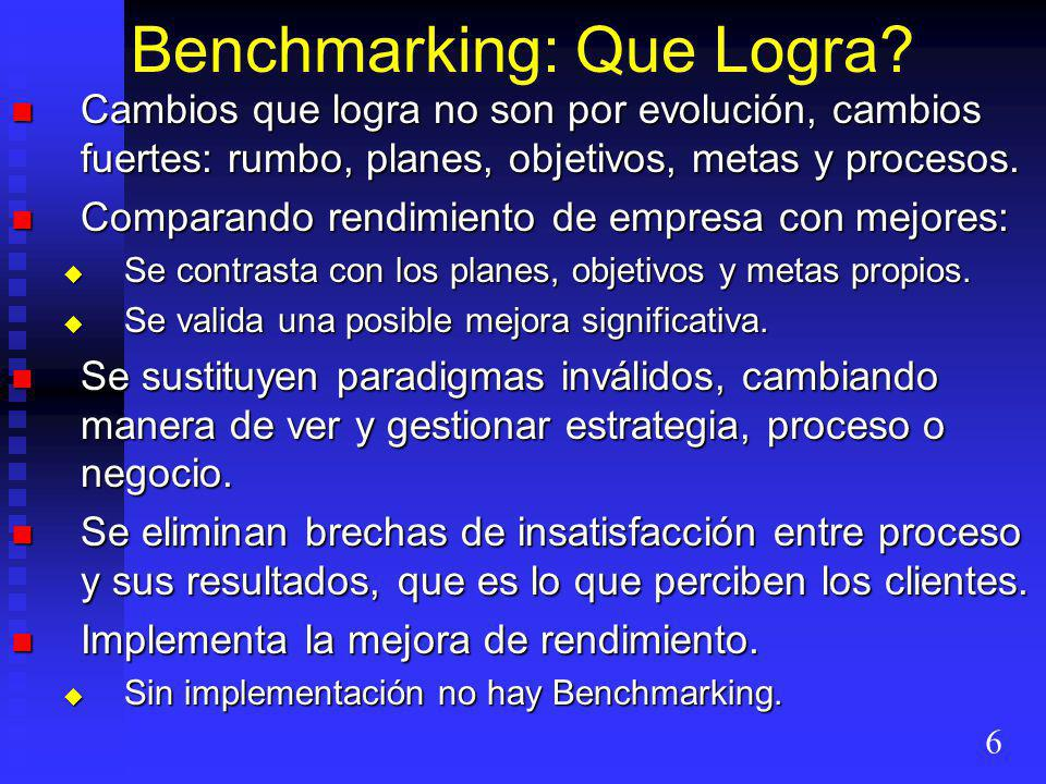 Benchmarking: Que Logra