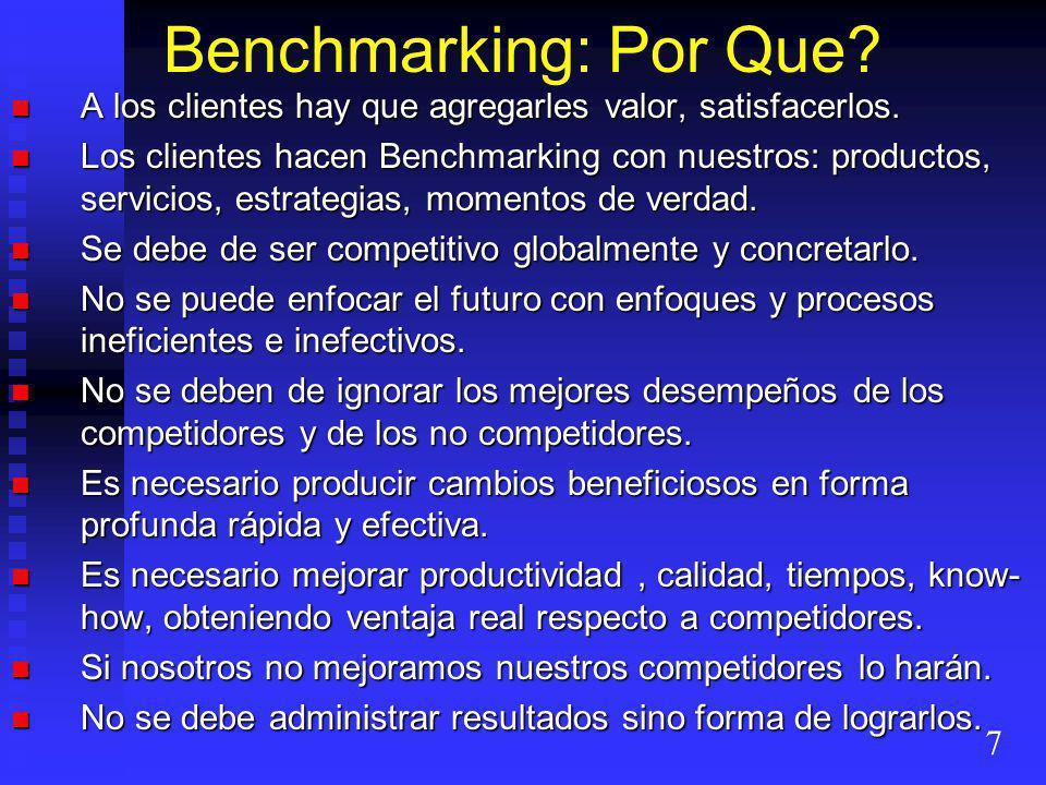 Benchmarking: Por Que A los clientes hay que agregarles valor, satisfacerlos.