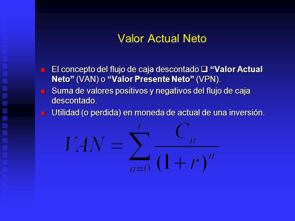 Valor Actual Neto El concepto del flujo de caja descontado  Valor Actual Neto (VAN) o Valor Presente Neto (VPN).