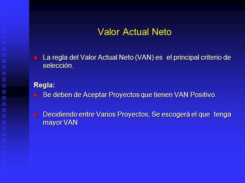 Valor Actual Neto La regla del Valor Actual Neto (VAN) es el principal criterio de selección. Regla: