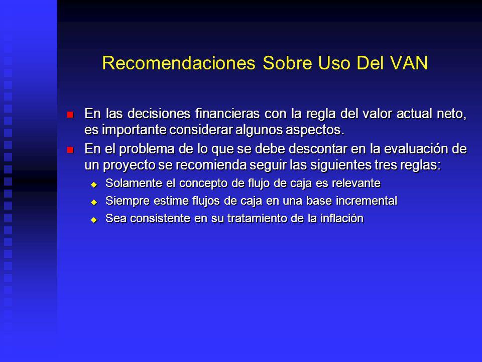 Recomendaciones Sobre Uso Del VAN