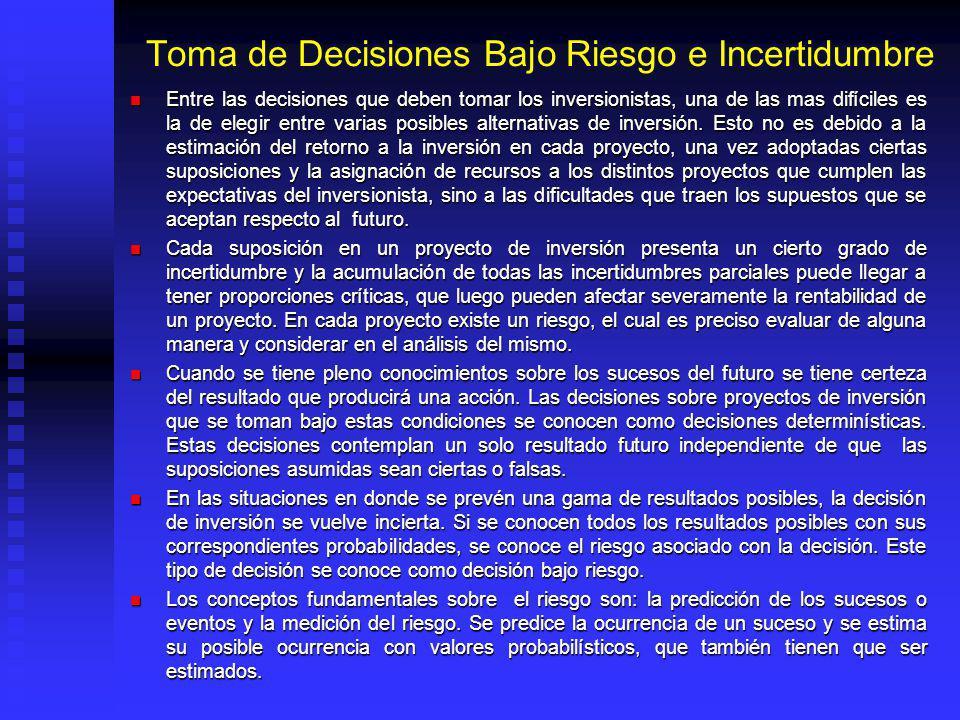 Toma de Decisiones Bajo Riesgo e Incertidumbre