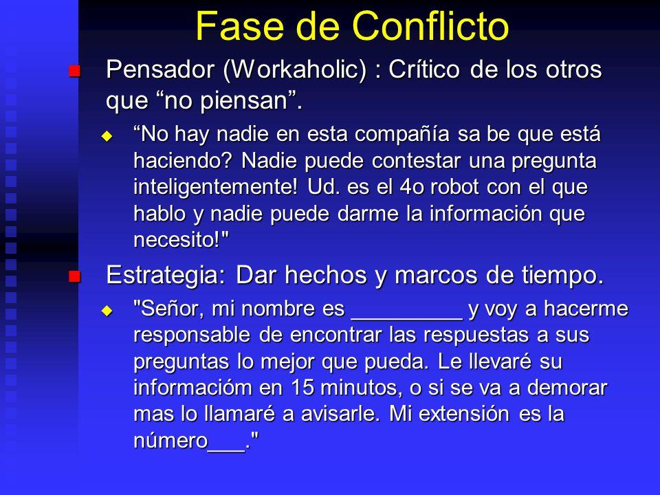 Fase de Conflicto Pensador (Workaholic) : Crítico de los otros que no piensan .
