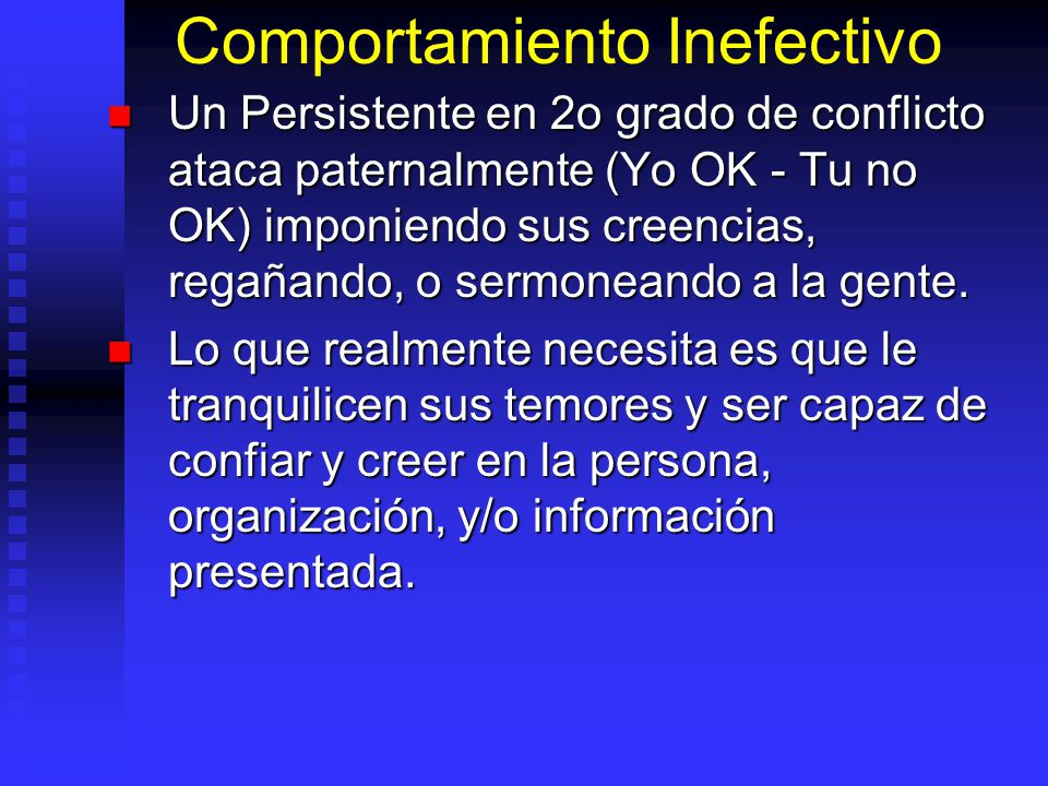 Comportamiento Inefectivo