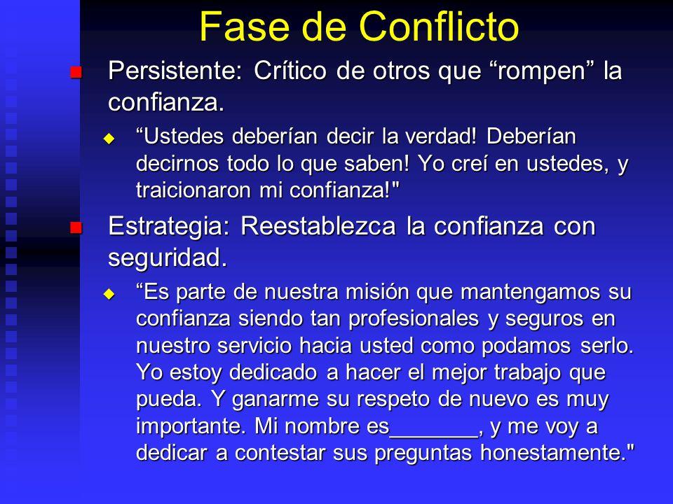 Fase de Conflicto Persistente: Crítico de otros que rompen la confianza.